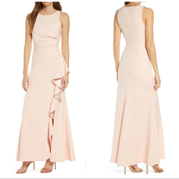 VINCE CAMUTO SLEEVELESS RUFFLE SLIT GOWN maxi dres